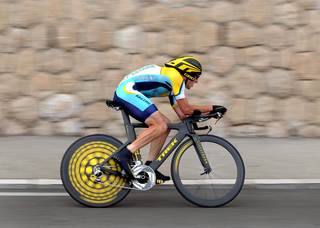 Description of . Seven-time winner Lance Armstrong of USA and team Astana in action during the first time trail of the 2009 Tour de France on July 4, 2009 in Monaco.  (Photo by Koen Haedens/Getty Images)