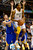 Golden State Warriors shooting guard Klay Thompson (11) pressures Denver Nuggets shooting guard Andre Iguodala (9) during the first half at the Pepsi Center on Sunday, January 13, 2013. AAron Ontiveroz, The Denver Post