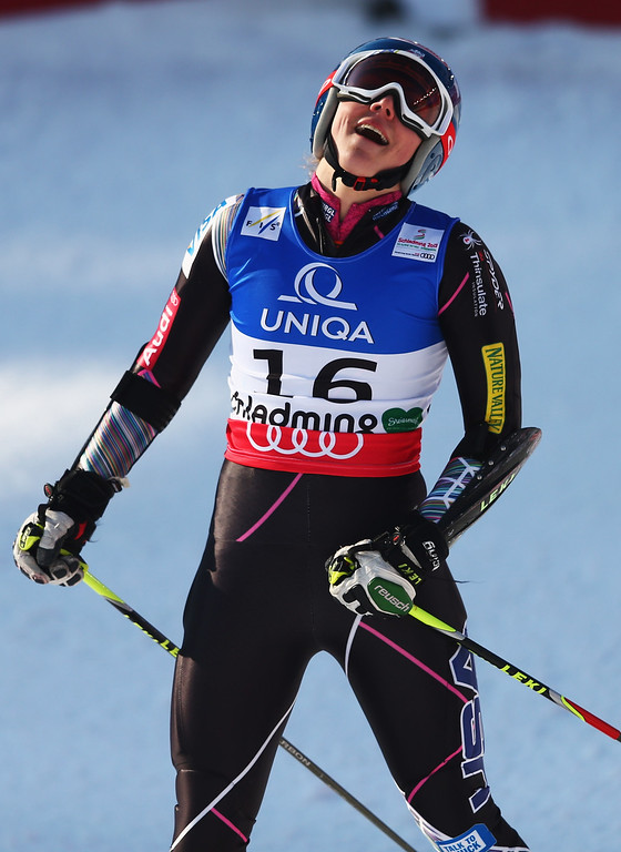 Description of . Mikaela Shiffrin of the United States of America reacts in the finish area after skiing in the Women's Giant Slalom during the Alpine FIS Ski World Championships on February 14, 2013 in Schladming, Austria.  (Photo by Clive Mason/Getty Images)