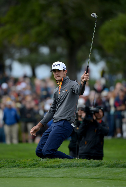 Description of . Billy Horschel reacts to his chip shot on the sixth hole during the Third Round at the Farmers Insurance Open at Torrey Pines Golf Course on January 27, 2013 in La Jolla, California. (Photo by Donald Miralle/Getty Images)