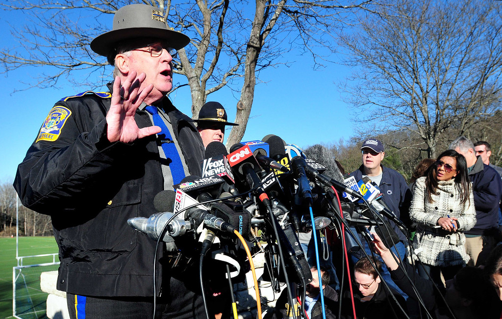 Description of . Connecticut State Police Lt. J. Paul Vance speaks about the shootings at Sandy Hook Elementary School during a press conference at Treadwell Park in Sandy Hook on 12/14/2012. Photo by Arnold Gold/New Haven Register