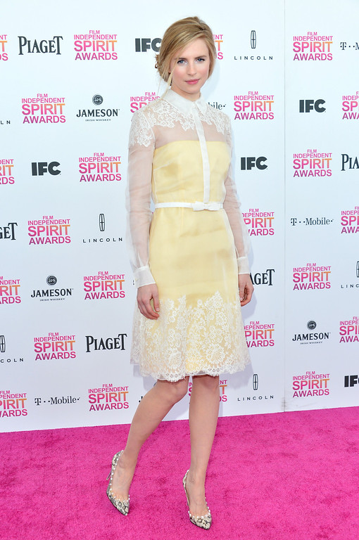 Description of . SANTA MONICA, CA - FEBRUARY 23:  Actress Brit Marling attends the 2013 Film Independent Spirit Awards at Santa Monica Beach on February 23, 2013 in Santa Monica, California.  (Photo by Alberto E. Rodriguez/Getty Images)