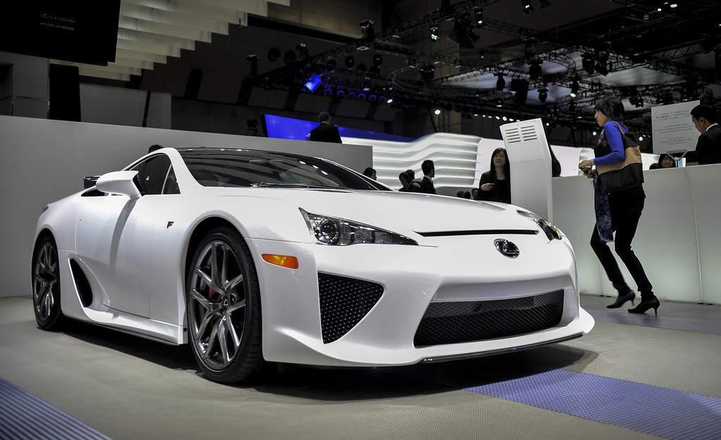 Description of . The Lexus LFA is displayed during the 43rd Tokyo Motor Show 2013 at Tokyo Big Sight on November 20, 2013 in Tokyo, Japan.   (Photo by Keith Tsuji/Getty Images)
