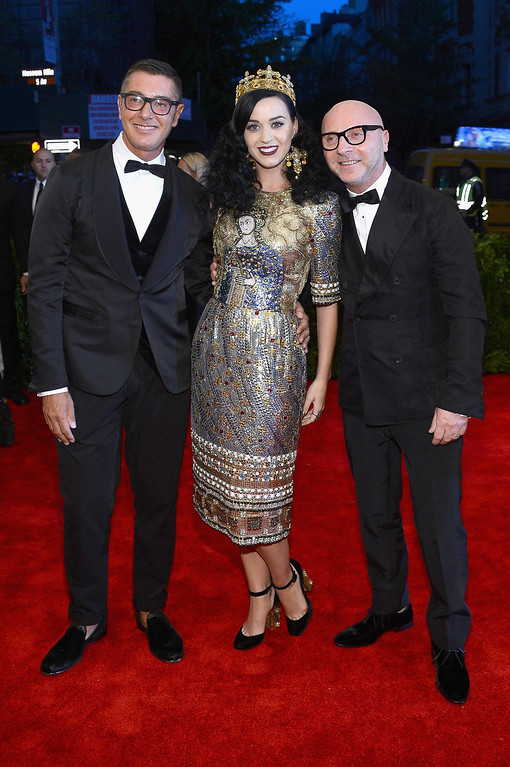 Description of . Stefano Gabbana, Katy Perry and Domenico Dolce attend the Costume Institute Gala for the