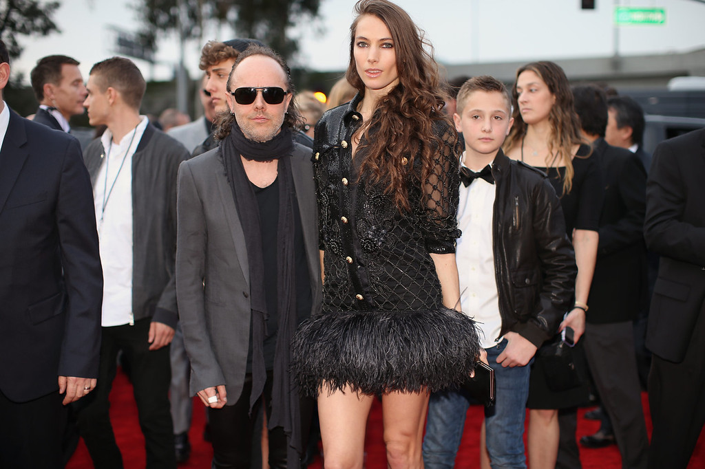 Description of . Musician Lars Ulrich and model Jessica Miller attend the 56th GRAMMY Awards at Staples Center on January 26, 2014 in Los Angeles, California.  (Photo by Christopher Polk/Getty Images for NARAS)