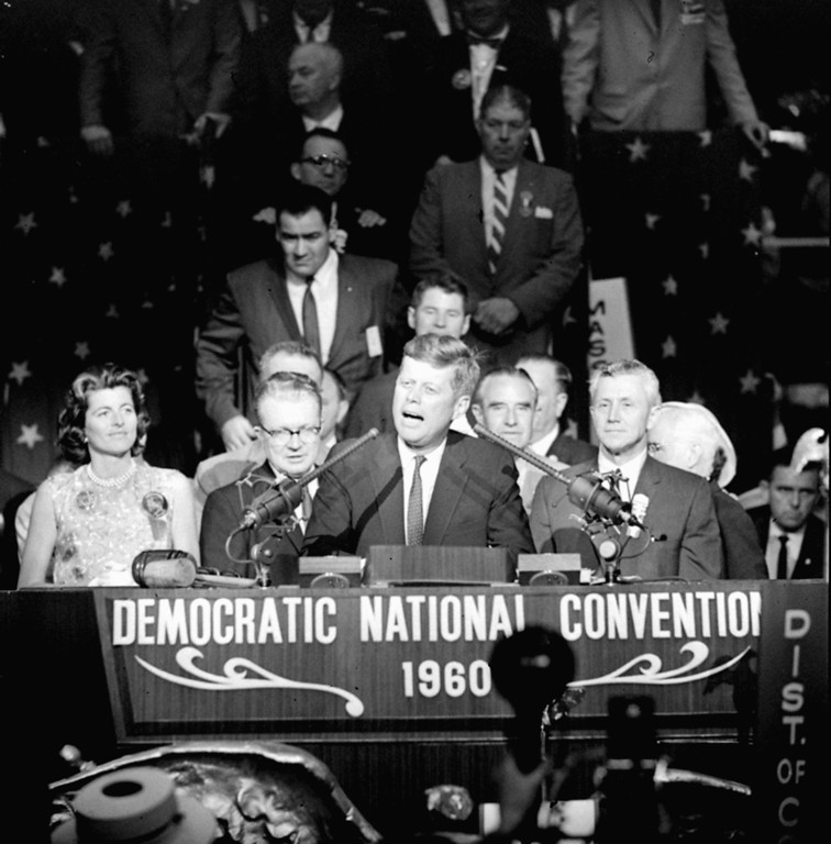 ". At the convention, Kennedy says, ""We will carry the fight to the people in the fall, and we shall win,\"" during a brief appearance on the rostrum of the Los Angeles Sports Arena, where he was nominated as the party\'s presidential candidate July 14, 1960.   Associated Press file"