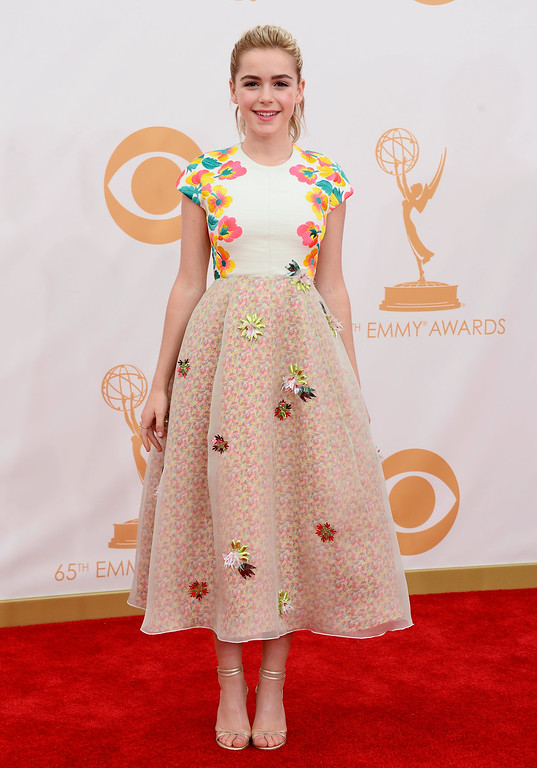 Description of . Actress Kiernan Shipka arrives at the 65th Annual Primetime Emmy Awards held at Nokia Theatre L.A. Live on September 22, 2013 in Los Angeles, California.  (Photo by Frazer Harrison/Getty Images)
