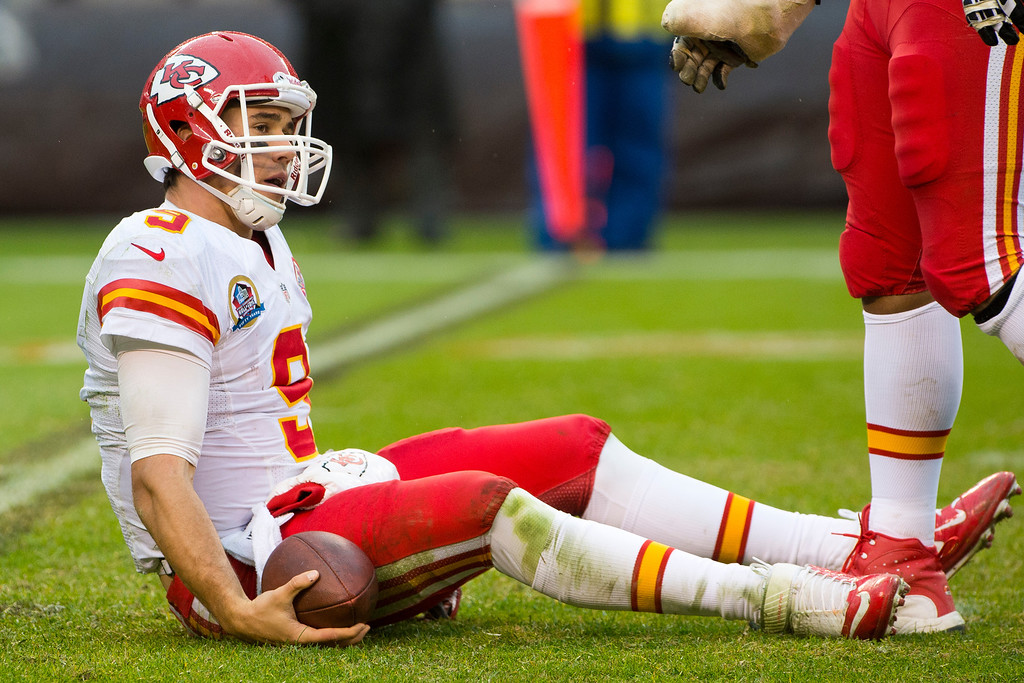Description of . CLEVELAND, OH - DECEMBER 09: Quarterback Brady Quinn #9 of the Kansas City Chiefs sits on the ground after being sacked during the second half against the Cleveland Browns at Cleveland Browns Stadium on December 9, 2012 in Cleveland, Ohio. The Browns defeated the Chiefs 30-7. (Photo by Jason Miller/Getty Images)