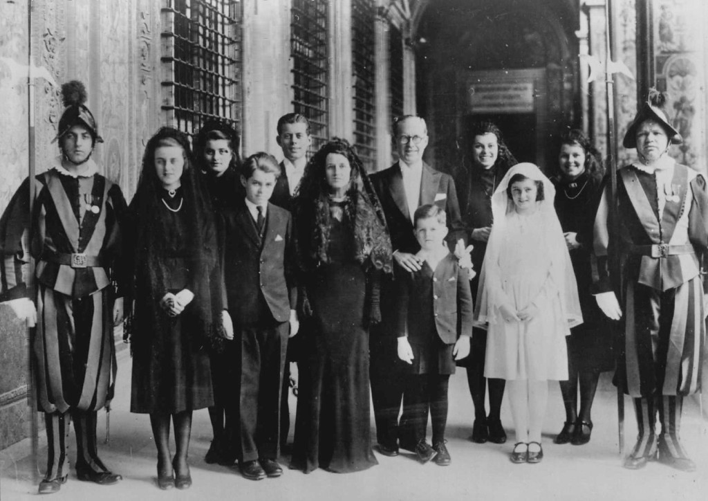 Description of . Joseph Kennedy and family, photographed at the Vatican in Rome in 1938.  Denver Post file
