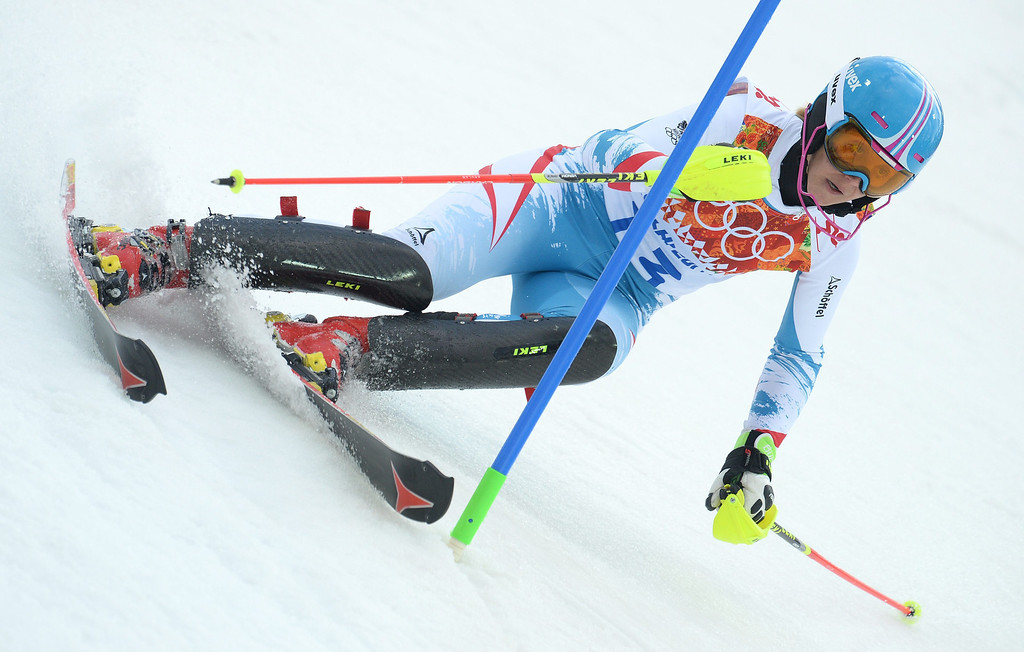 Description of . Michaela Kirchgasser of Austria in action during the first run of the Women's Slalom race at the Rosa Khutor Alpine Center during the Sochi 2014 Olympic Games, Krasnaya Polyana, Russia, 21 February 2014.  EPA/VASSIL DONEV