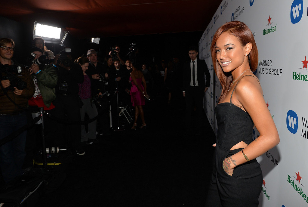 Description of . Model Karrueche Tran attends the Warner Music Group annual GRAMMY celebration on January 26, 2014 in Los Angeles, California.  (Photo by Michael Buckner/Getty Images for Warner Bros.)