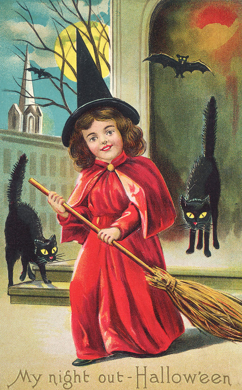 Description of . An American Halloween greetings card depicting a girl dressed as a witch and surrounded by black cats and bats, circa 1910. The text reads: 'My night out - Hallow'een'. (Photo by Hulton Archive/Getty Images)