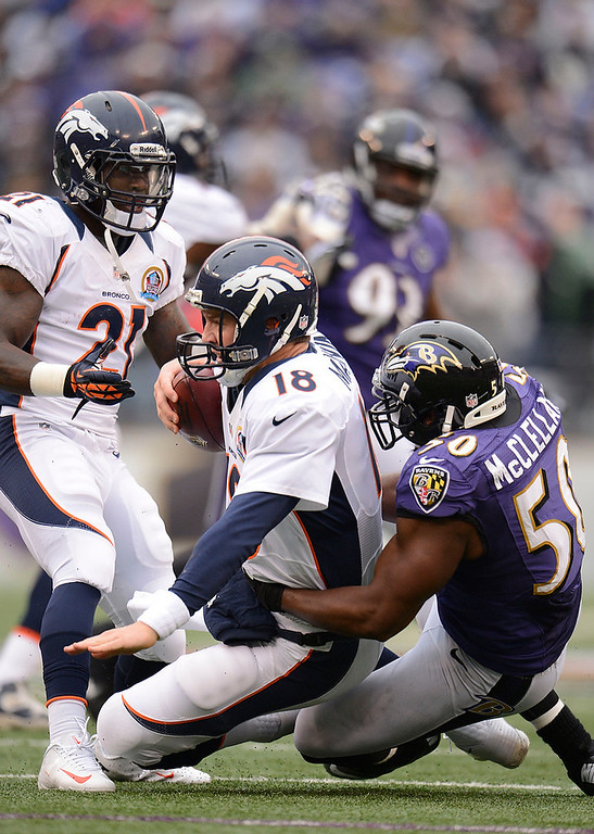 Description of . Denver Broncos quarterback Peyton Manning (18) gets sacked by Baltimore Ravens outside linebacker Albert McClellan (50) during the second quarter Sunday, December 16, 2012 at M&T Bank Stadium. John Leyba, The Denver Post