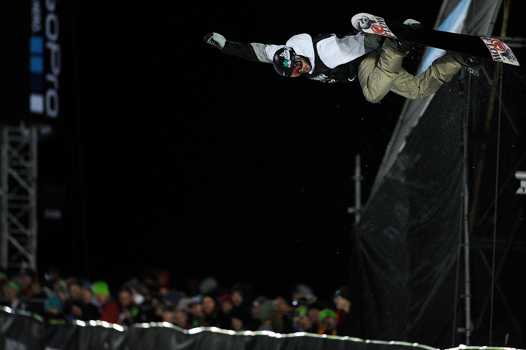 Description of . ASPEN, CO - JANUARY 27: Scotty Lago makes a hit during the men's snowboard superpipe final. X Games Aspen Buttermilk Mountain Aspen January 27, 2013. (Photo By Daniel Petty/The Denver Post)