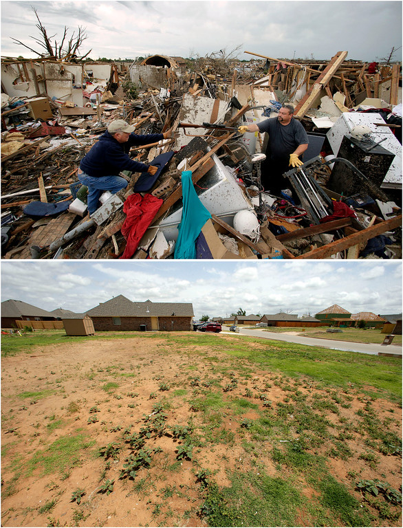 Description of . In this photo combination, Dalton Sprading, right, hands a gun to his uncle Roger Craft as he salvages items from his tornado-ravaged home in Moore, Okla., May 21, 2013, top, and the site remains empty while other houses rise in the background on May 8, 2014, bottom. (AP Photo/Charlie Riedel)