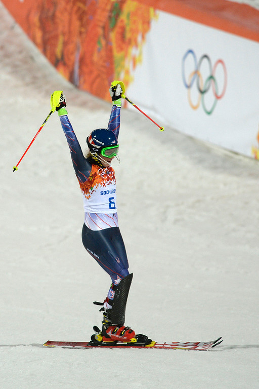 Description of . Gold medalist American Mikaela Shiffrin reacts to winning ladies' slalom run 2. Sochi 2014 Winter Olympics on Friday, February 21, 2014 at Rosa Khutor Alpine Center. (Photo by AAron Ontiveroz/ The Denver Post)