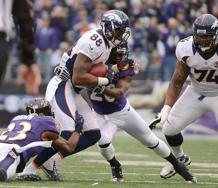 Description of . Denver Broncos wide receiver Demaryius Thomas (88) picks up a few yards befroe he is brought down by ,r10, during the second quarter Sunday, December 16, 2012 at M&T Bank Stadium. John Leyba, The Denver Post