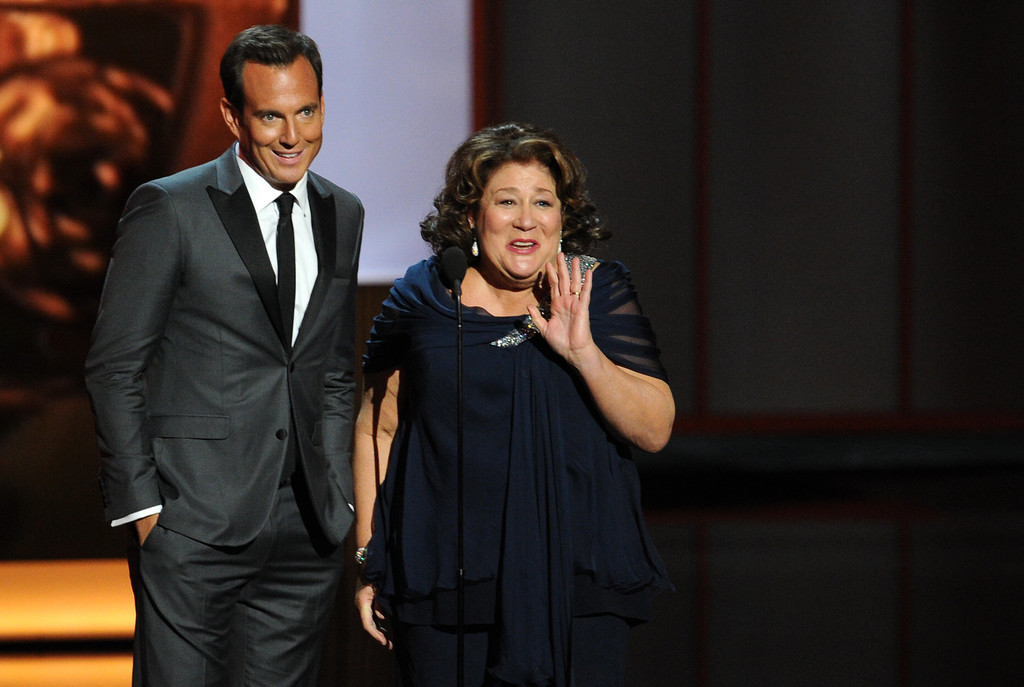 Description of . Actor Will Arnett and actress Margo Martindale speak onstage during the 65th Annual Primetime Emmy Awards held at Nokia Theatre L.A. Live on September 22, 2013 in Los Angeles, California.  (Photo by Kevin Winter/Getty Images)