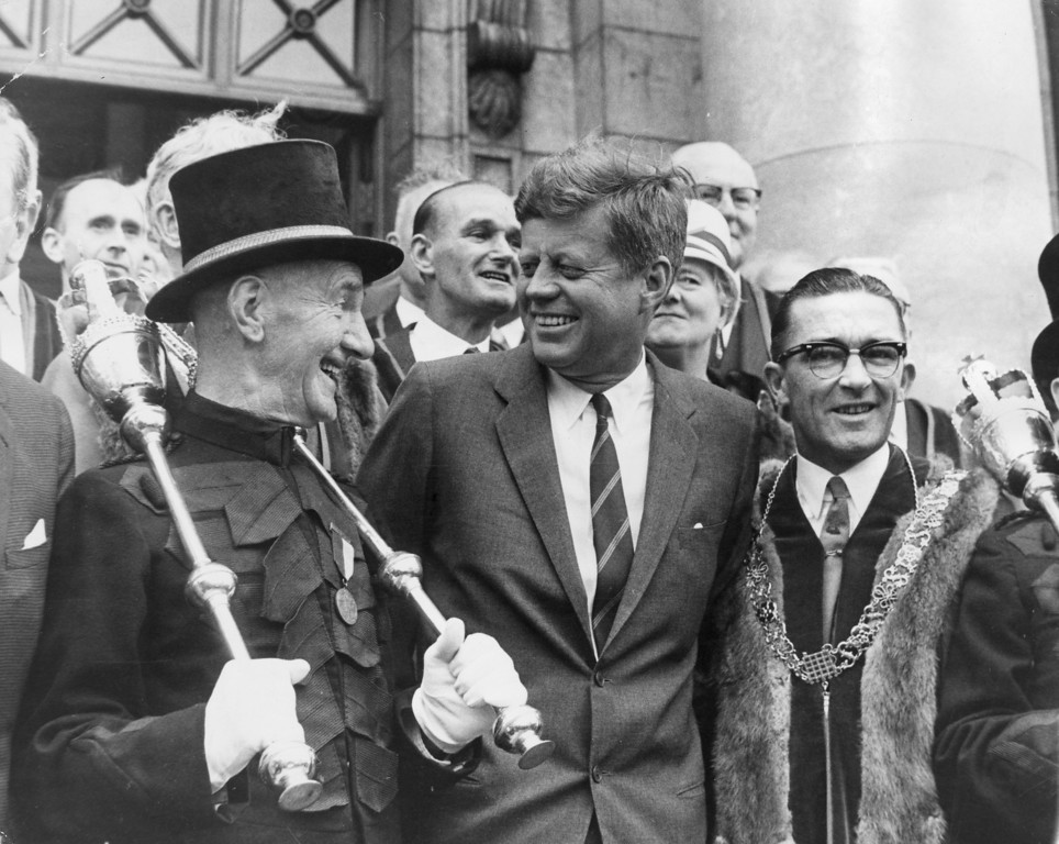 Description of . Kennedy meets with Dublin's macebearer, Jim Buckley, left, during a visit to Dublin, Ireland.  Keystone/Getty Images