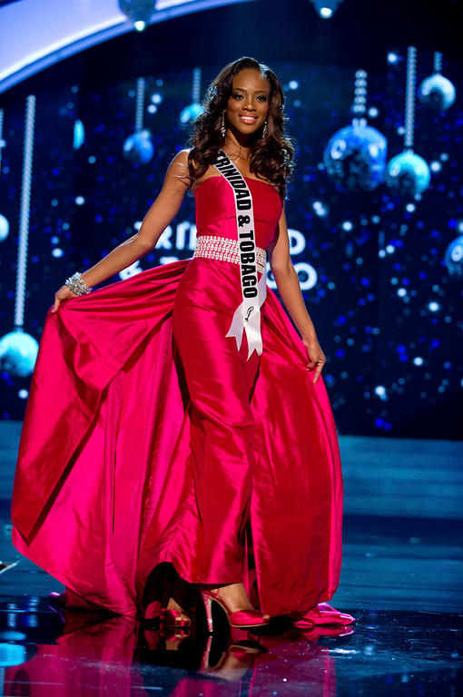 Description of . Miss Trinidad and Tobago 2012 Avionne Mark competes in an evening gown of her choice during the Evening Gown Competition of the 2012 Miss Universe Presentation Show in Las Vegas, Nevada, December 13, 2012. The Miss Universe 2012 pageant will be held on December 19 at the Planet Hollywood Resort and Casino in Las Vegas. REUTERS/Darren Decker/Miss Universe Organization L.P/Handout