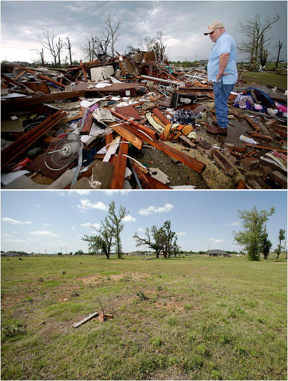 Description of . In this photo combination, Monty Montgomery surveys the scene as he prepares to clean up a friend's tornado-ravaged home on May 23, 2013, in Moore, Okla., top, and the site on the outskirts of the Oklahoma City suburb is cleared and barren on May 8, 2014, bottom. (AP Photo/Charlie Riedel)