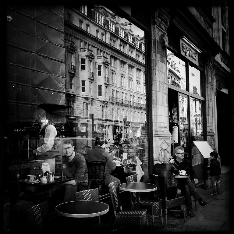 Description of . People seated in a cafe on April 30, 2012 in London, England. Shot in April 2012 ahead of the London 2012 Olympics. (Photo by Vittorio Zunino Celotto/Getty Images)