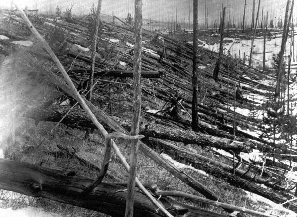 Description of . In this 1953 file photo, trees lie strewn across the Siberian countryside 45 years after a meteorite struck the Earth near Tunguska, Russia. The 1908 explosion is generally estimated to have been about 10 megatons; it leveled some 80 million trees for miles near the impact site. The meteor that streaked across the Russian sky Friday, Feb. 15, 2013, is estimated to be about 10 tons. It exploded with the power of an atomic bomb over the Ural Mountains, about 5,000 kilometers (3,000 miles) west of Tunguska. (AP Photo, File)