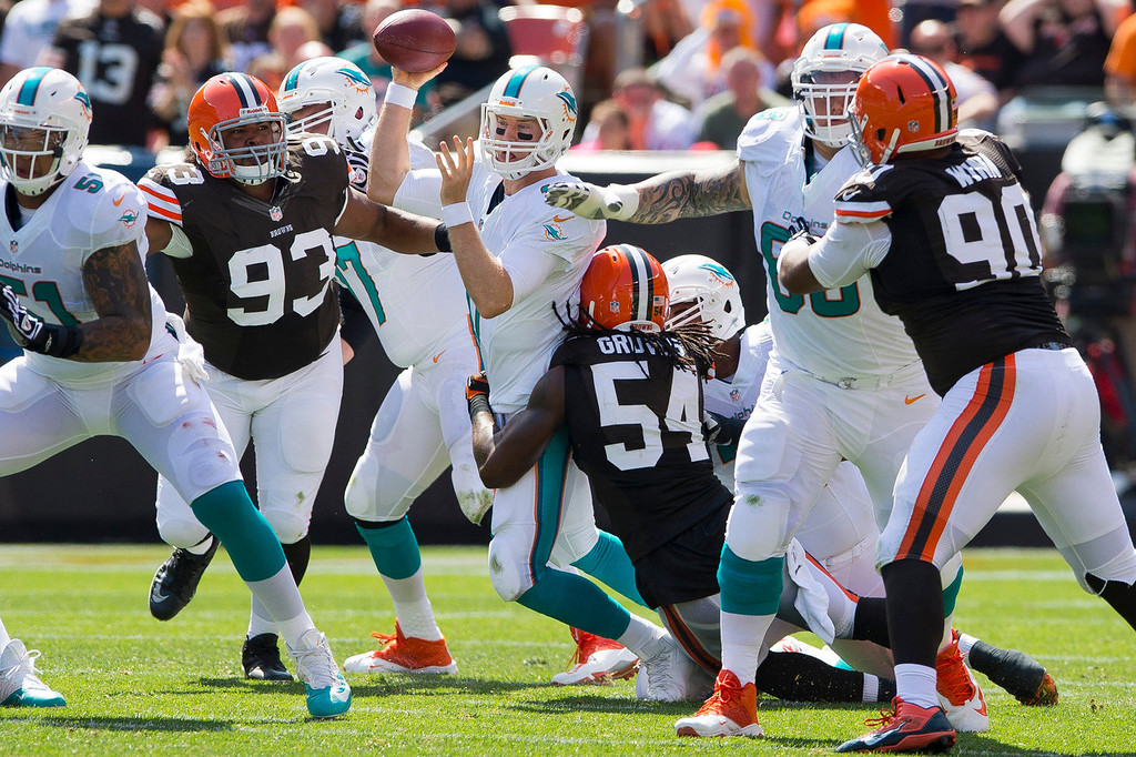 Description of . Linebackers John Hughes #93 and Quentin Groves #54 of the Cleveland Browns sack quarterback Ryan Tannehill #17 of the Miami Dolphins during the first half at First Energy Stadium on September 8, 2013 in Cleveland, Ohio. (Photo by Jason Miller/Getty Images)