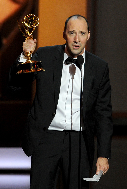 Description of . Winner for Supporting Actor in a Comedy Series, Tony Hale speaks onstage during the 65th Annual Primetime Emmy Awards held at Nokia Theatre L.A. Live on September 22, 2013 in Los Angeles, California.  (Photo by Kevin Winter/Getty Images)