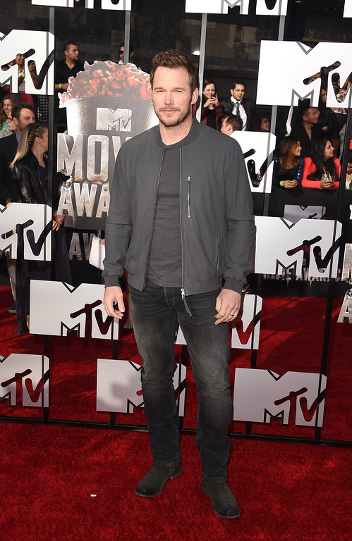 Description of . Actor Chris Pratt attends the 2014 MTV Movie Awards at Nokia Theatre L.A. Live on April 13, 2014 in Los Angeles, California.  (Photo by Jason Merritt/Getty Images for MTV)