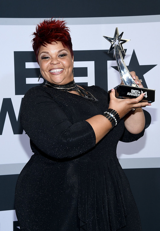 Description of . Singer Tamela Mann poses in the press room during the BET AWARDS '14 at Nokia Theatre L.A. LIVE on June 29, 2014 in Los Angeles, California.  (Photo by Michael Buckner/Getty Images for BET)