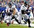 Jacksonville Jaguars tight end Marcedes Lewis (89) runs away from Buffalo Bills linebacker Kelvin Sheppard (55) during the first half of an NFL football game on Sunday, Dec. 2, 2012, in Orchard Park, N.Y. (AP Photo/Gary Wiepert)