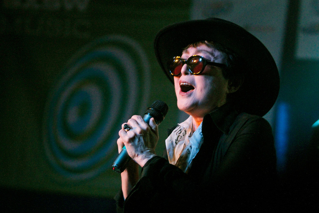Description of . Yoko Ono performs at the SXSW Music Festival early Sunday, March 20, 2011.(AP Photo/Jack Plunkett)