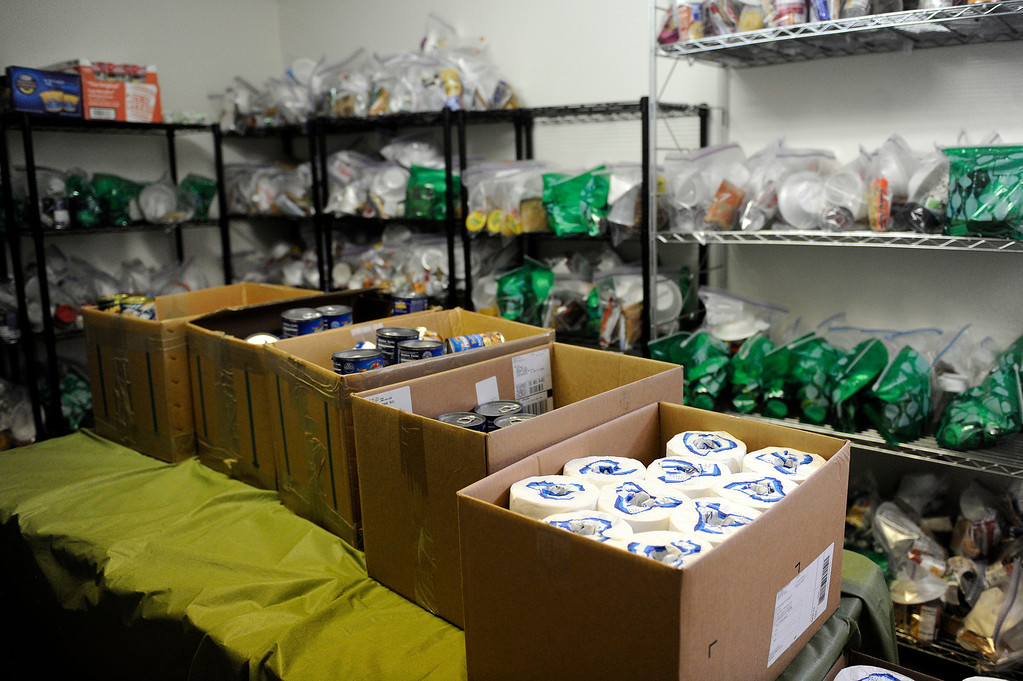 Description of . AURORA, CO - NOVEMBER 21: Food and hygiene items sit in the storage rooms at the Aurora Warms the Night facility on November 21, 2013, in Aurora, Colorado. (Photo by Anya Semenoff/YourHub)