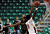Texas State's Joel Wright (25) blocks a shot from Denver's Royce O'Neale (20) during the fist half of a Western Athletic Conference tournament NCAA college basketball game on Thursday, March 14, 2013, in Las Vegas. (AP Photo/David Becker)