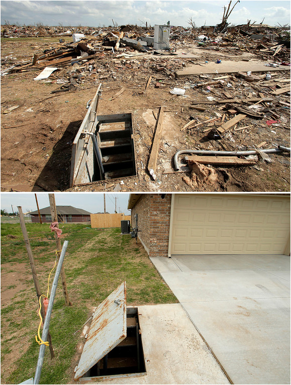 Description of . This photo combination shows an underground shelter among tornado rubble, May 26, 2013, in Moore, Okla. top, and the shelter virtually unchanged on May 7, 2014. (AP Photo/Charlie Riedel)