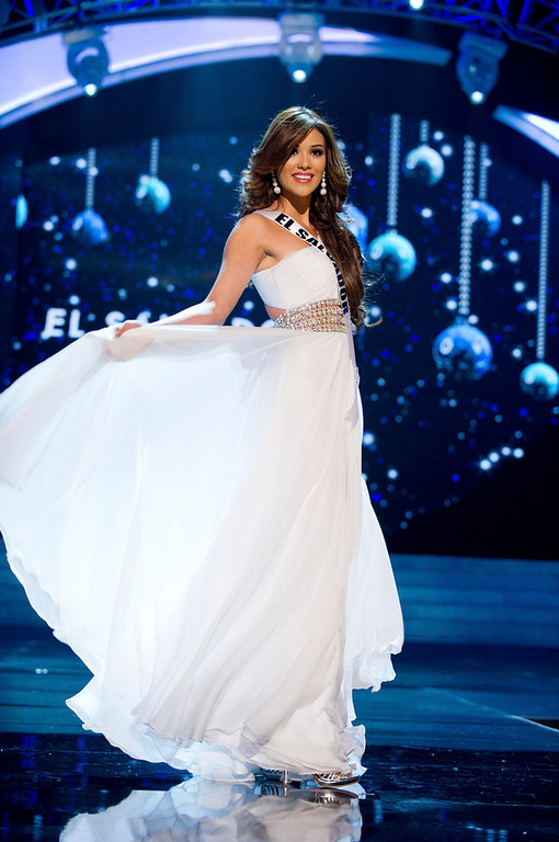 Description of . Miss El Salvador 2012 Ana Yancy Clavel competes in an evening gown of her choice during the Evening Gown Competition of the 2012 Miss Universe Presentation Show in Las Vegas, Nevada, December 13, 2012. The Miss Universe 2012 pageant will be held on December 19 at the Planet Hollywood Resort and Casino in Las Vegas. REUTERS/Darren Decker/Miss Universe Organization L.P/Handout