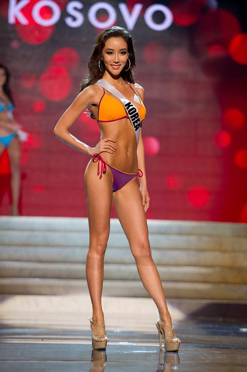Description of . Miss Korea Sung-hye Lee competes in her Kooey Australia swimwear and Chinese Laundry shoes during the Swimsuit Competition of the 2012 Miss Universe Presentation Show at PH Live in Las Vegas, Nevada December 13, 2012. The 89 Miss Universe Contestants will compete for the Diamond Nexus Crown on December 19, 2012. REUTERS/Darren Decker/Miss Universe Organization/Handout