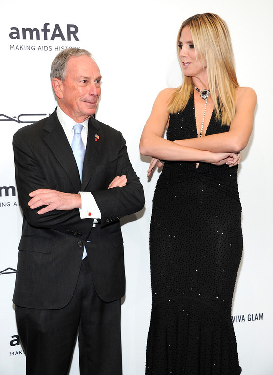 Description of . New York Mayor Michael Bloomberg and honoree Heidi Klum attend amfAR's New York gala at Cipriani Wall Street on Wednesday, Feb. 6, 2013 in New York. (Photo by Evan Agostini/Invision/AP)
