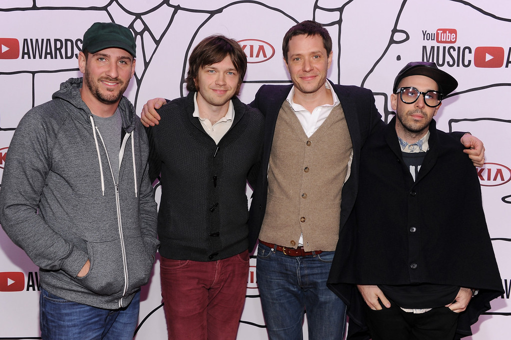 Description of . (L-R) Dan Konopka, Andy Ross, Tim Nordwind and Damian Kulash of OK GO attends the YouTube Music Awards 2013 on November 3, 2013 in New York City.  (Photo by Dimitrios Kambouris/Getty Images)