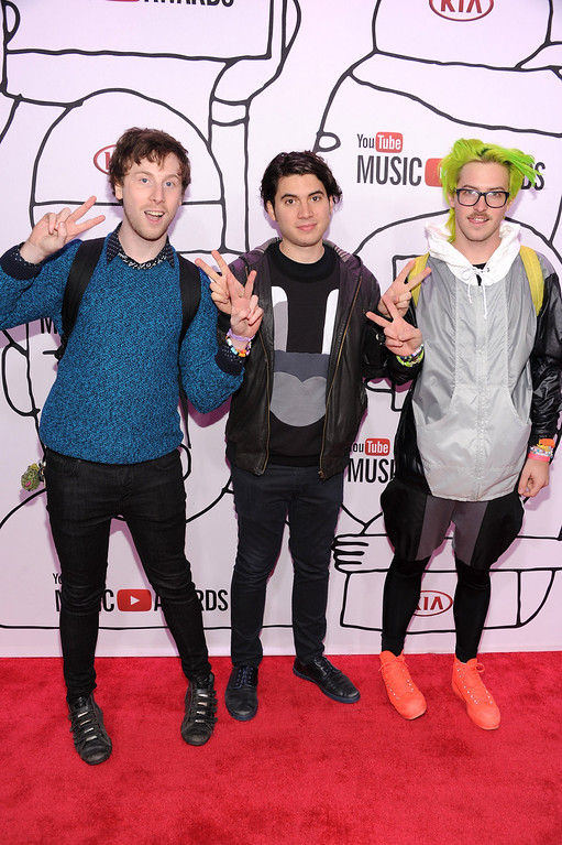 Description of . (L-R) Peter Berkman, James DeVito and Ary Warnaar of Anamanaguch attend the YouTube Music Awards 2013 on November 3, 2013 in New York City.  (Photo by Dimitrios Kambouris/Getty Images)
