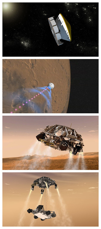Description of . FILE - This combination of artist's renderings released by NASA/JPL-Caltech shows how NASA's Curiosity rover is expected to approach and land on Mars. The second from top photo shows an illustration of signals beamed back to Earth and subsequent images show the descent stage and