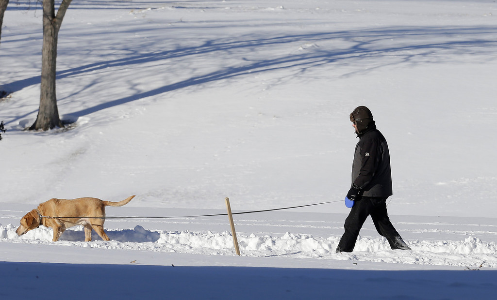 Description of . A man walks with his dog at the Cleveland MetroParks Acacia Reservation Thursday, Jan. 30, 2014, in Lyndhurst, Ohio. Temperatures should rise to the mid 20's by Thursday afternoon. (AP Photo)