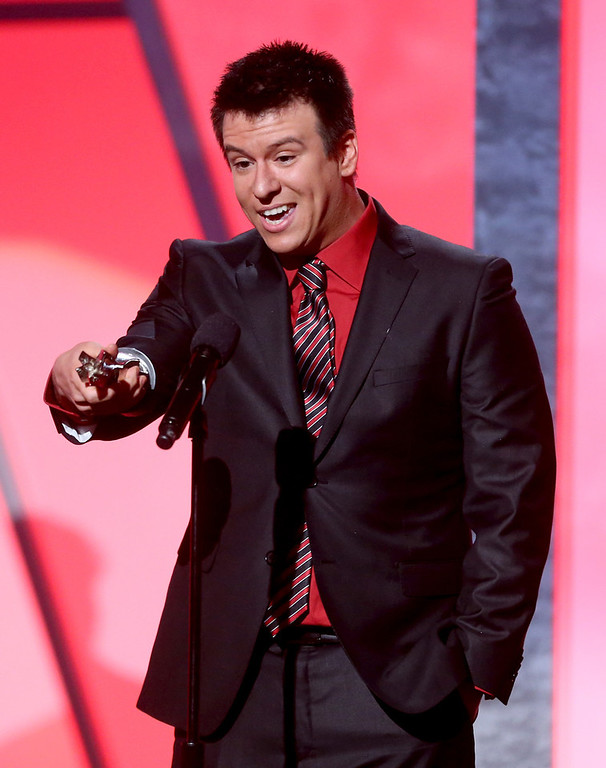 Description of . Internet personality Philip DeFranco accepts the Best News and Culture Series for