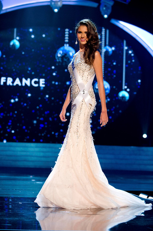 Description of . Miss France 2012 Marie Payet competes in an evening gown of her choice during the Evening Gown Competition of the 2012 Miss Universe Presentation Show in Las Vegas, Nevada, December 13, 2012. The Miss Universe 2012 pageant will be held on December 19 at the Planet Hollywood Resort and Casino in Las Vegas. REUTERS/Darren Decker/Miss Universe Organization L.P/Handout