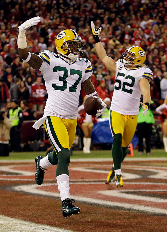 Description of . Green Bay Packers cornerback Sam Shields (37) celebrates with outside linebacker Clay Matthews (52) after returning an interception from San Francisco 49ers quarterback Colin Kaepernick for a touchdown during the first quarter of an NFC divisional playoff NFL football game in San Francisco, Saturday, Jan. 12, 2013. (AP Photo/Ben Margot)