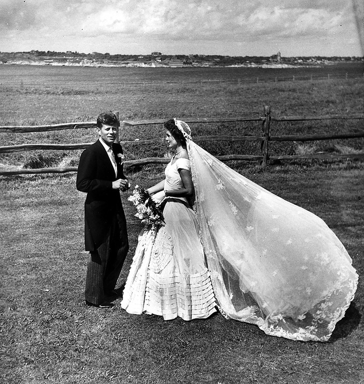 Description of . Sen. Kennedy and Jacqueline  pose for wedding-day photos on Sept. 12, 1953, at Hammersmith Farm in Newport, R.i. The Toni Frissell Collection, Library of Congress