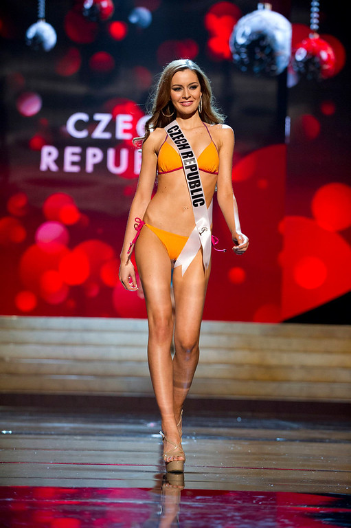 Description of . Miss Czech Republic Tereza Chlebovska competes in her Kooey Australia swimwear and Chinese Laundry shoes during the Swimsuit Competition of the 2012 Miss Universe Presentation Show at PH Live in Las Vegas, Nevada December 13, 2012. The 89 Miss Universe Contestants will compete for the Diamond Nexus Crown on December 19, 2012. REUTERS/Darren Decker/Miss Universe Organization/Handout