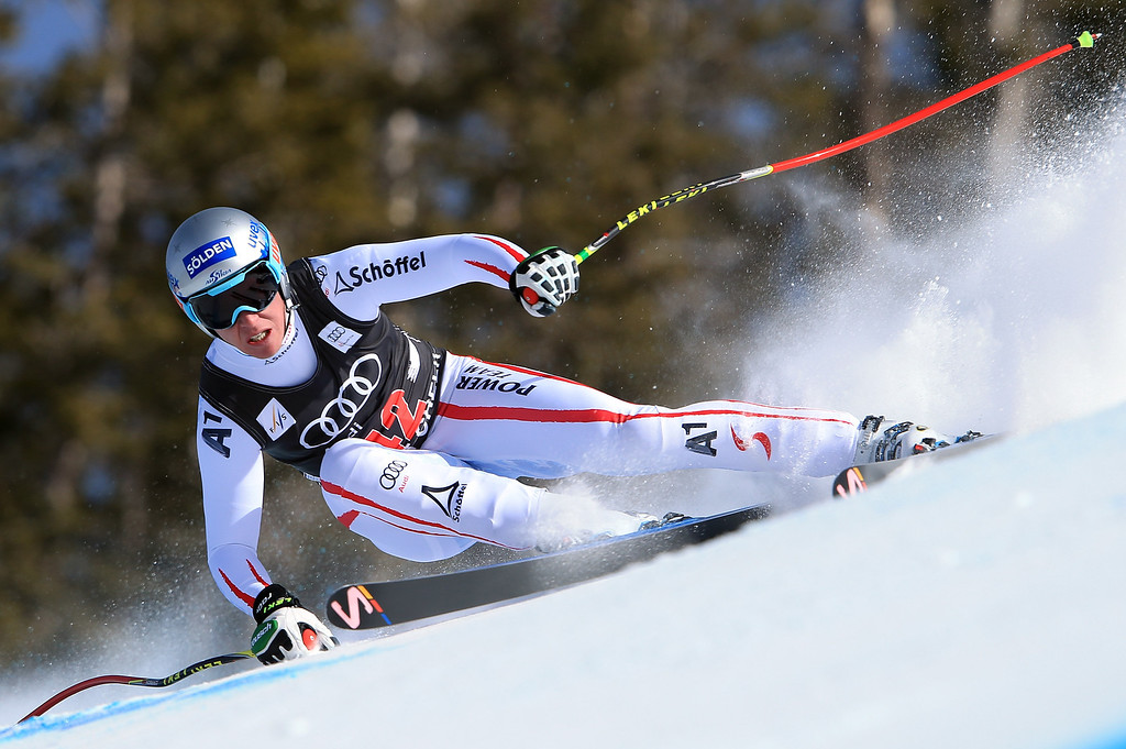 Description of . Florian Scheiber of Austria skis to fourth place in the men's downhill on the Birds of Prey at the Audi FIS World Cup on November 30, 2012 in Beaver Creek, Colorado.  (Photo by Doug Pensinger/Getty Images)