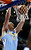 Denver Nuggets center Kosta Koufos (41) dunks against the Detroit Pistons in the second half of an NBA basketball game, Tuesday, Dec. 11, 2012, in Auburn Hills, Mich. The Nuggets won 101-94. (AP Photo/Duane Burleson)
